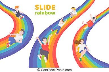 arco íris, baixo, crianças, escorregar, deslizamento, feliz, junto
