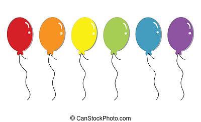 arco íris, balões