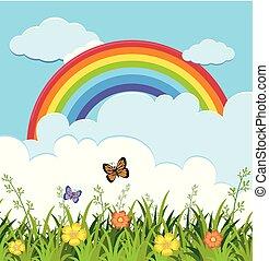 arco íris, borboletas, jardim, cena