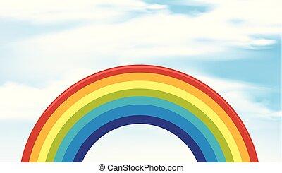 arco íris, céu, cena, fundo