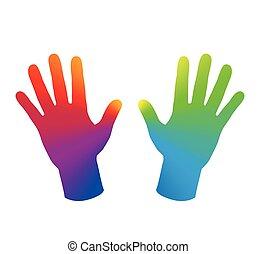 arco-íris colorido, mãos