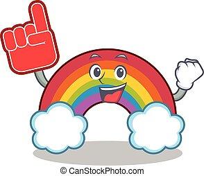arco íris, coloridos, espuma, personagem, dedo, caricatura