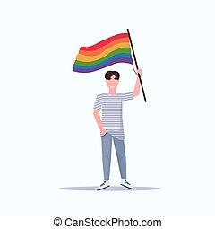 arco íris, conceito, amor, parada, homossexual, apartamento, festival, personagem, bandeira, orgulho, lgbt, comprimento, cheio, segurando, sorrindo, macho, caricatura, homem