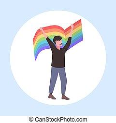 arco íris, conceito, amor, parada, homossexual, apartamento, festival, personagem, bandeira, orgulho, lgbt, comprimento, cheio, segurando, macho, caricatura, homem