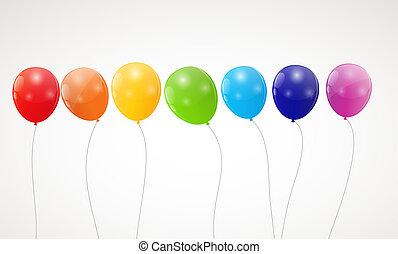 arco íris, cor, ilustração, vetorial, lustroso, fundo, balões