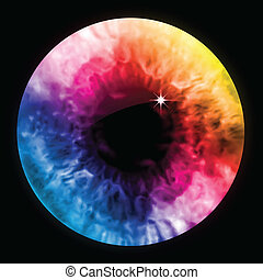 arco íris, cor olho, macro., vetorial, pupila