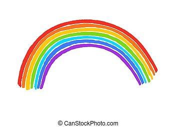 arco íris, criança, arco, desenho