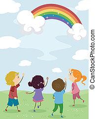 arco íris, crianças, admirar