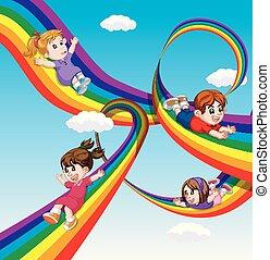 arco íris, crianças, céu, deslizamento