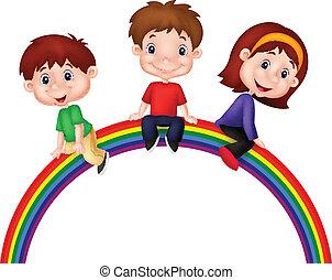 arco íris, crianças, caricatura, sentando