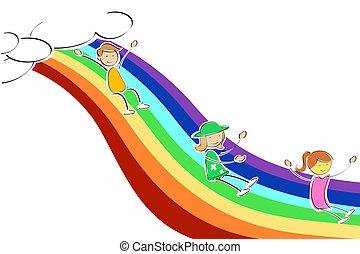 arco íris, crianças, deslizamento