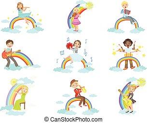 arco íris, crianças, nuvens, instrumentos, decoração, música, tocando