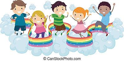 arco íris, crianças, nuvens