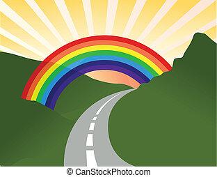 arco íris, ensolarado, paisagem