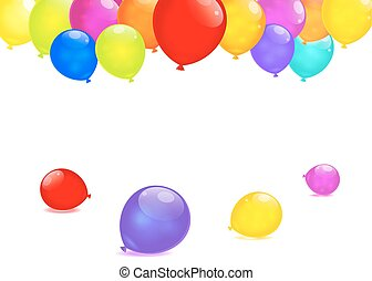 arco íris, eps10., isolado, experiência., vetorial, branca, balões
