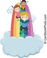 arco íris, escorregar, crianças, deslizamento