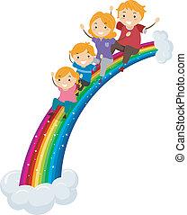 arco íris, escorregar, deslizamento, família