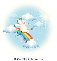 arco íris, escorregar, feliz, unicórnio