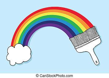 arco íris, escova, nuvem, formando