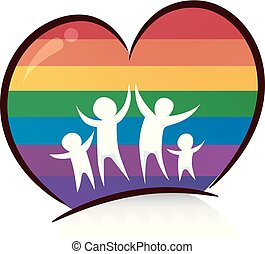 arco íris, família, ilustração, coração