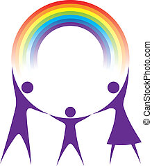 arco íris, família, segurando, seu, hands., feliz
