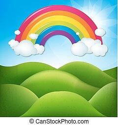 arco íris, fantástico, paisagem