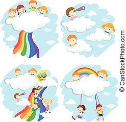 arco íris, feliz, nuvens, jogar crianças