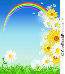 arco íris, flores, capim, verde