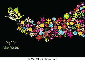 arco íris, flores, vetorial, butterfly.