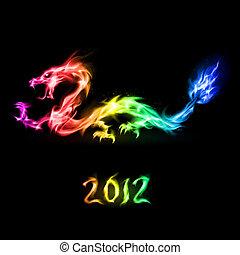 arco íris, fogo dragão