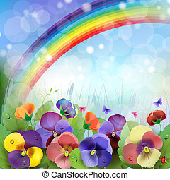arco íris, fundo, floral