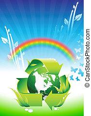 arco íris, globo, conservação, fundo, ambiental