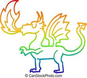 arco íris, gradiente, caricatura, linha, dragão, desenho, vermelho