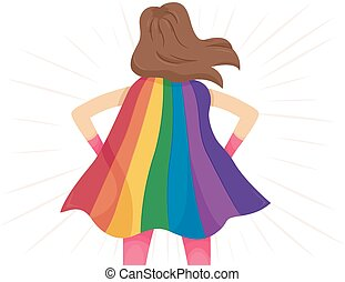 arco íris, herói, ilustração, lgbt, capa, menina, super