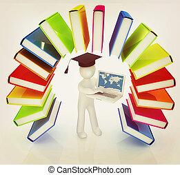 arco íris, illustration., coloridos, vindima, laptop, 3d, graduação, livros, homem, chapéu, style., semelhante