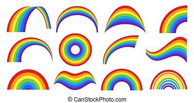 arco íris, jogo, clássicas, diferente, tempo, formas