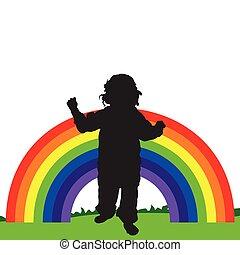 arco íris, linha, ilustração, criança
