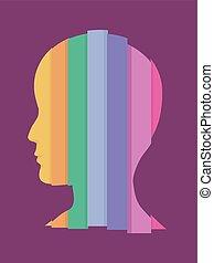 arco íris, listras, ilustração, homem