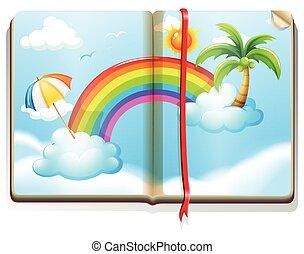 arco íris, livro, céu