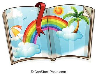 arco íris, livro, coloridos