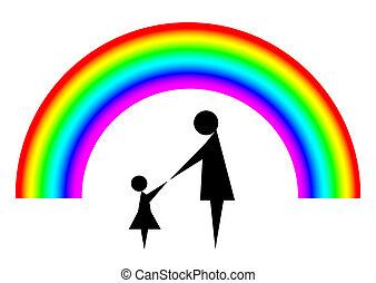 arco íris, mãe, criança
