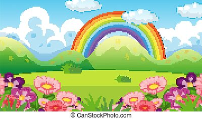 arco íris, natureza, fundo, jardim, flores, cena