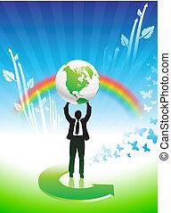 arco íris, negócio, conservação ambiental, fundo, homem