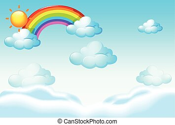arco íris, nuvens, modelo, fundo