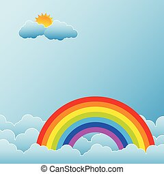 arco íris, nuvens, sol