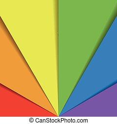 arco íris, organizado, folhas, coloridos, effect., abstratos, papel parede, espectro, sobrepondo, fan., papel, cores, vetorial, fundo, sombra, feliz