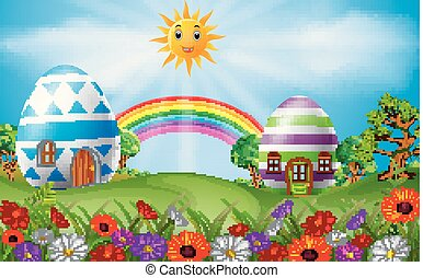 arco íris, ovos, páscoa, cena, casa