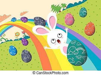 arco íris, ovos, páscoa, feliz