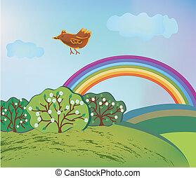 arco íris, pássaro, caricatura, paisagem, primavera
