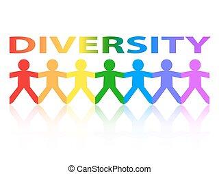 arco íris, papel, diversidade, pessoas